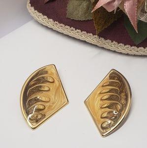 Unique Vintage paint swirl Statement earrings